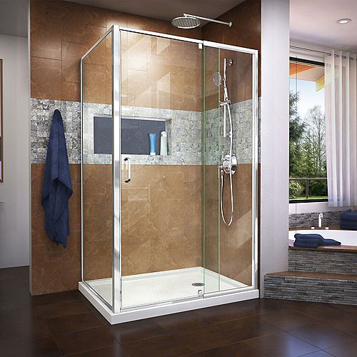 DreamLine Flex 36 inch D x 48 inch W x 74 3/4 inch H Shower Enclosure in Chrome with Right Drain White Base