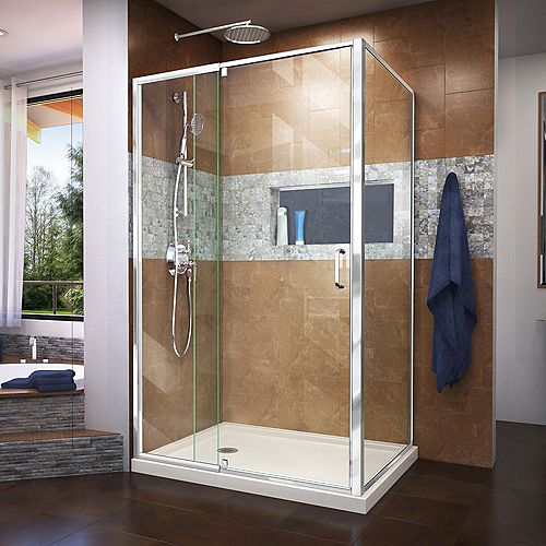 DreamLine Flex 36 inch D x 48 inch W x 74 3/4 inch H Shower Enclosure in Chrome with Left Drain Biscuit Base