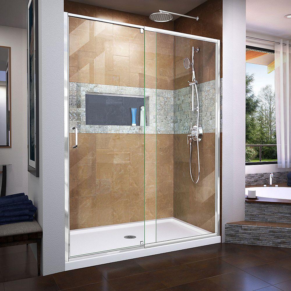 DreamLine Flex 30 inch D x 60 inch W x 74 3/4 inch H Shower Door in Chrome with Center Drain White Base Kit