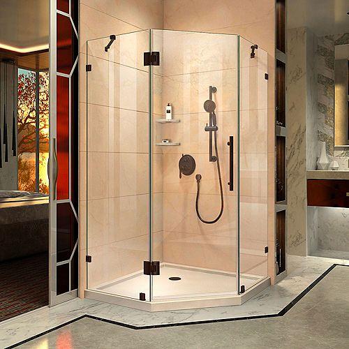 DreamLine Prism Lux 42 inch D x 42 inch W Shower Enclosure in Oil Rubbed Bronze, Corner Drain Biscuit Base Kit
