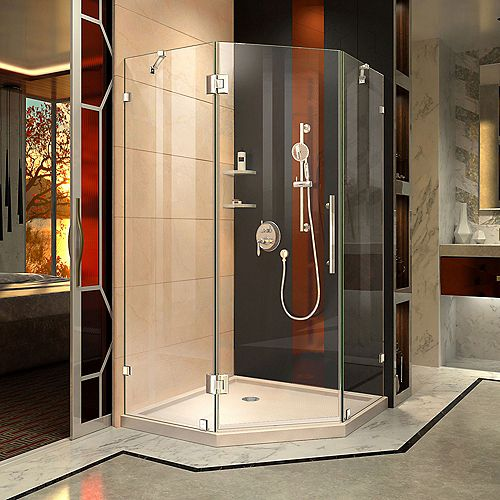 DreamLine Prism Lux 40 inch D x 40 inch W Shower Enclosure in Chrome with Corner Drain Biscuit Base Kit