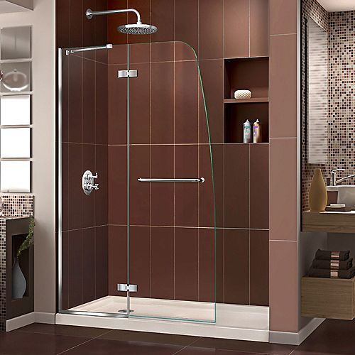 DreamLine Aqua Ultra 32 inch D x 60 inch W x 74 3/4 inch H Shower Door in Chrome and Left Drain Biscuit Base