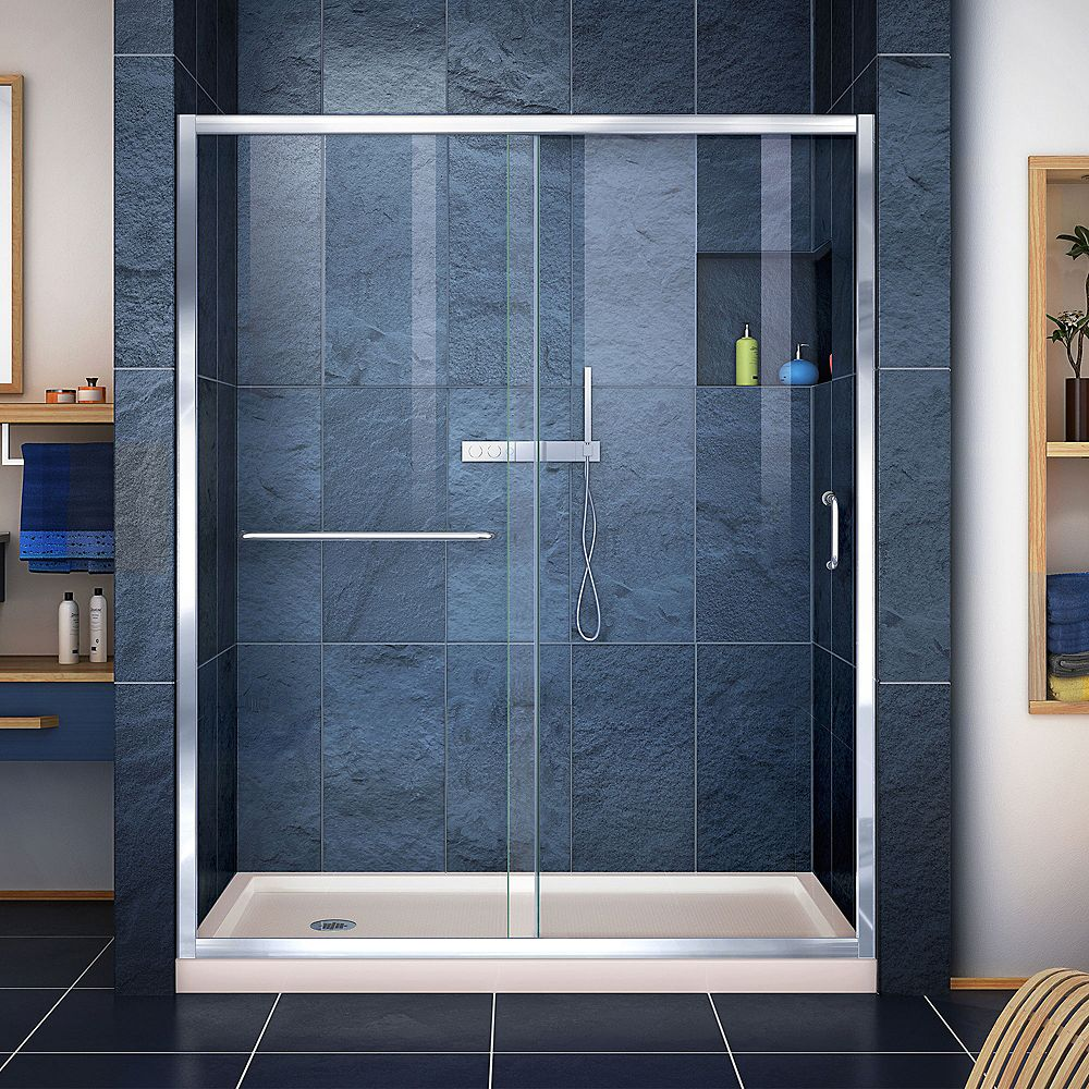 DreamLine Infinity-Z 30 inch D x 60 inch W Clear Shower Door in Chrome and Left Drain Biscuit Base