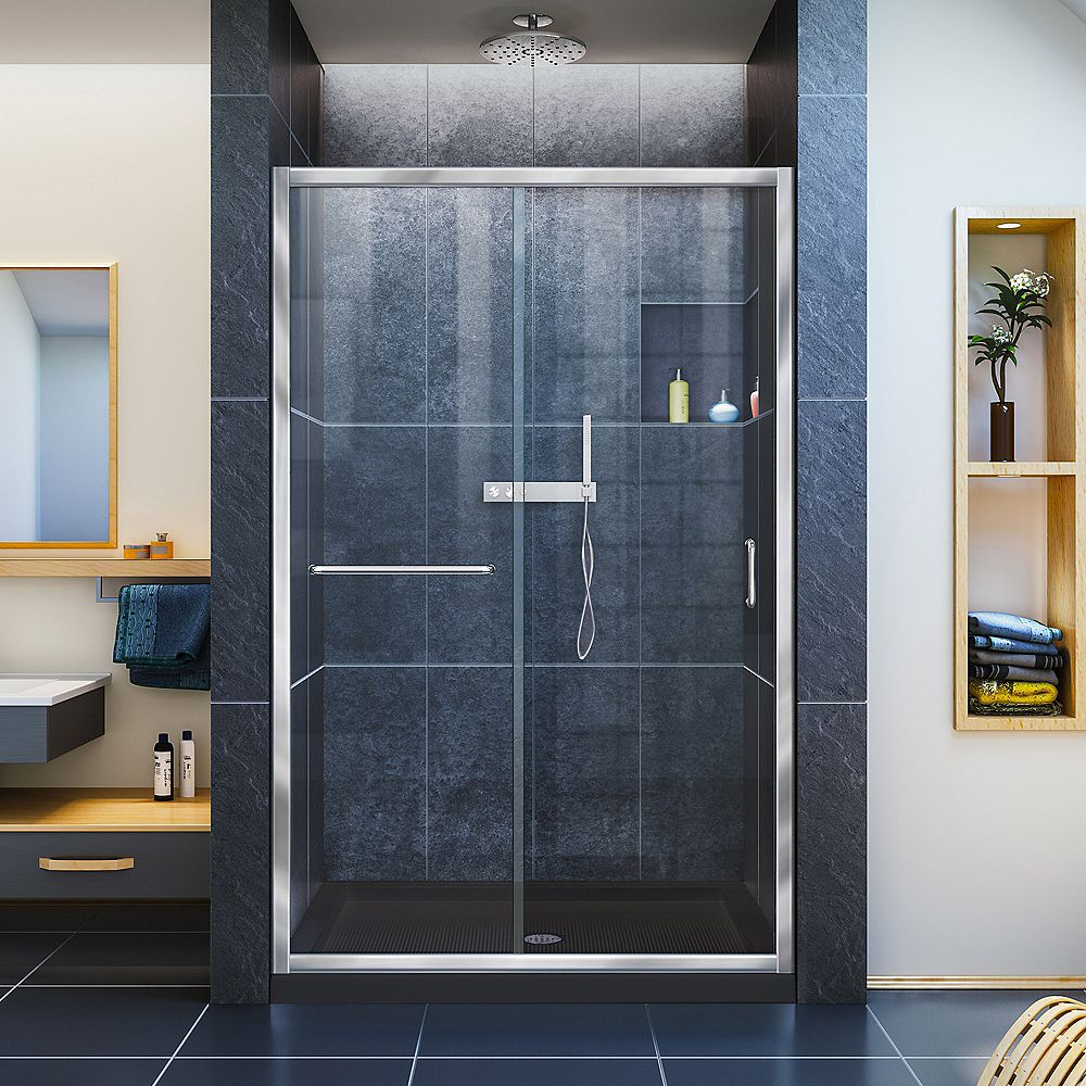 DreamLine Infinity-Z 36 inch D x 48 inch W Clear Shower Door in Chrome and Center Drain Black Base
