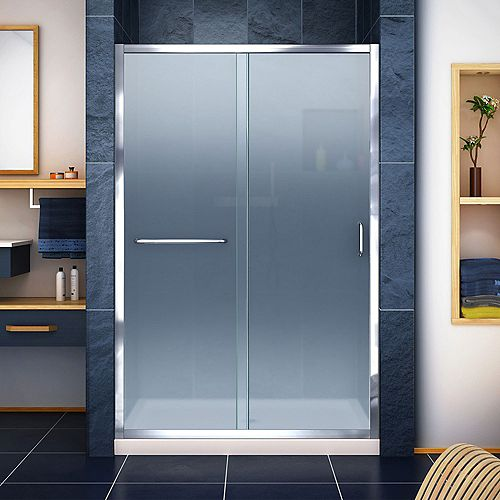 DreamLine Infinity-Z 36 inch D x 48 inch W Frosted Shower Door in Chrome and Center Drain Biscuit Base