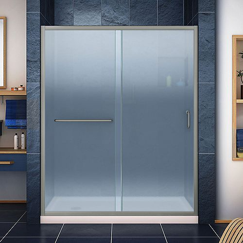 Infinity-Z 34 inch D x 60 inch W Frosted Shower Door in Brushed Nickel and Left Drain Biscuit Base