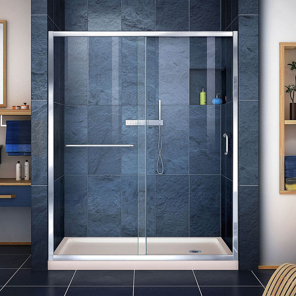 DreamLine Infinity-Z 34 inch D x 60 inch W Clear Shower Door in Chrome and Right Drain Biscuit Base