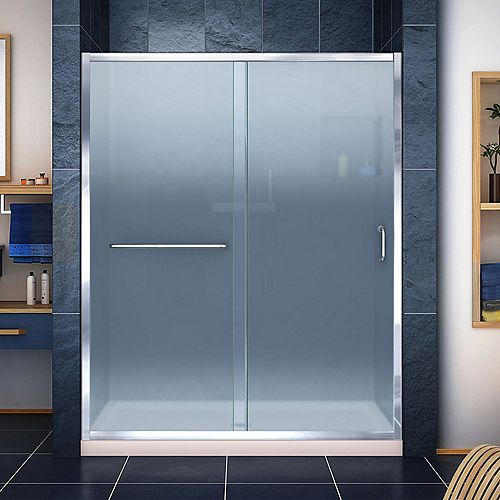 DreamLine Infinity-Z 34 inch D x 60 inch W Frosted Shower Door in Chrome and Center Drain Biscuit Base
