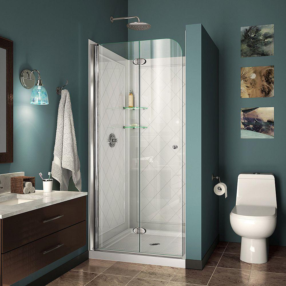 DreamLine Aqua Fold 32 inch D x 32 inch W Bi-Fold Shower Door in Chrome with White Acrylic Base and Backwalls