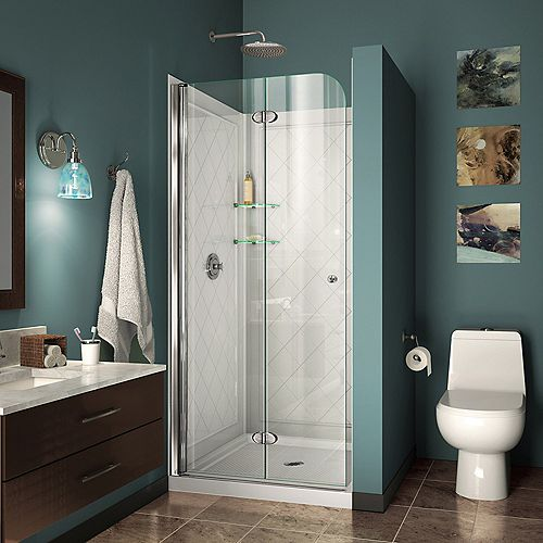 DreamLine Aqua Fold 32 inch D x 32 inch W Bi-Fold Shower Door in Chrome with White Acrylic Base and Backwalls