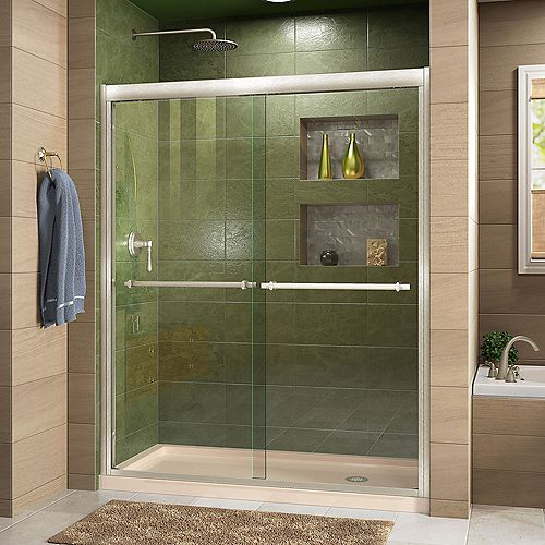 DreamLine Duet 36 inch D x 60 inch W Shower Door in Brushed Nickel with Right Drain Biscuit Base Kit