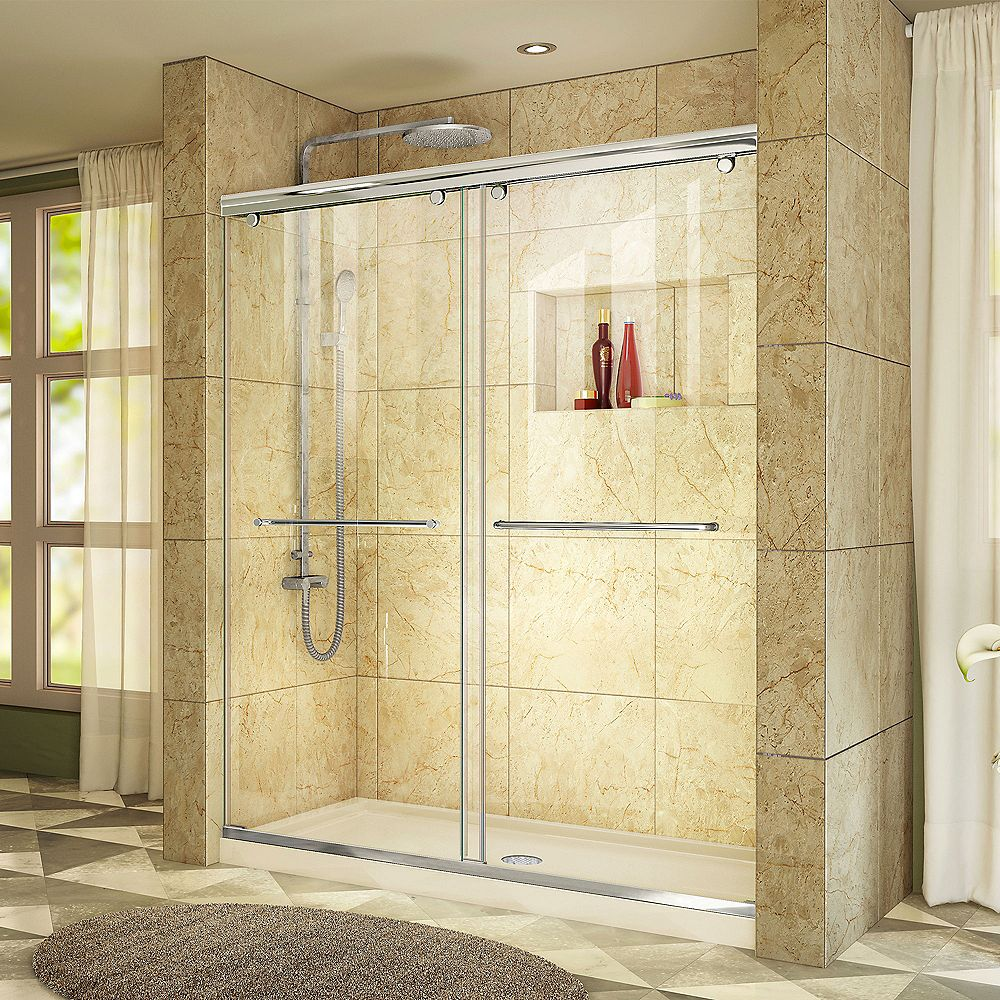DreamLine Charisma 32 inch D x 60 inch W x 78 3/4 inch H Shower Door in Chrome with Center Drain Biscuit Base