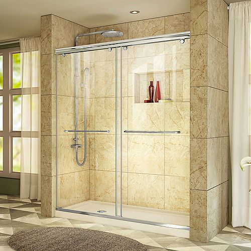 DreamLine Charisma 34 inch D x 60 inch W x 78 3/4 inch H Shower Door in Chrome with Left Drain Biscuit Base
