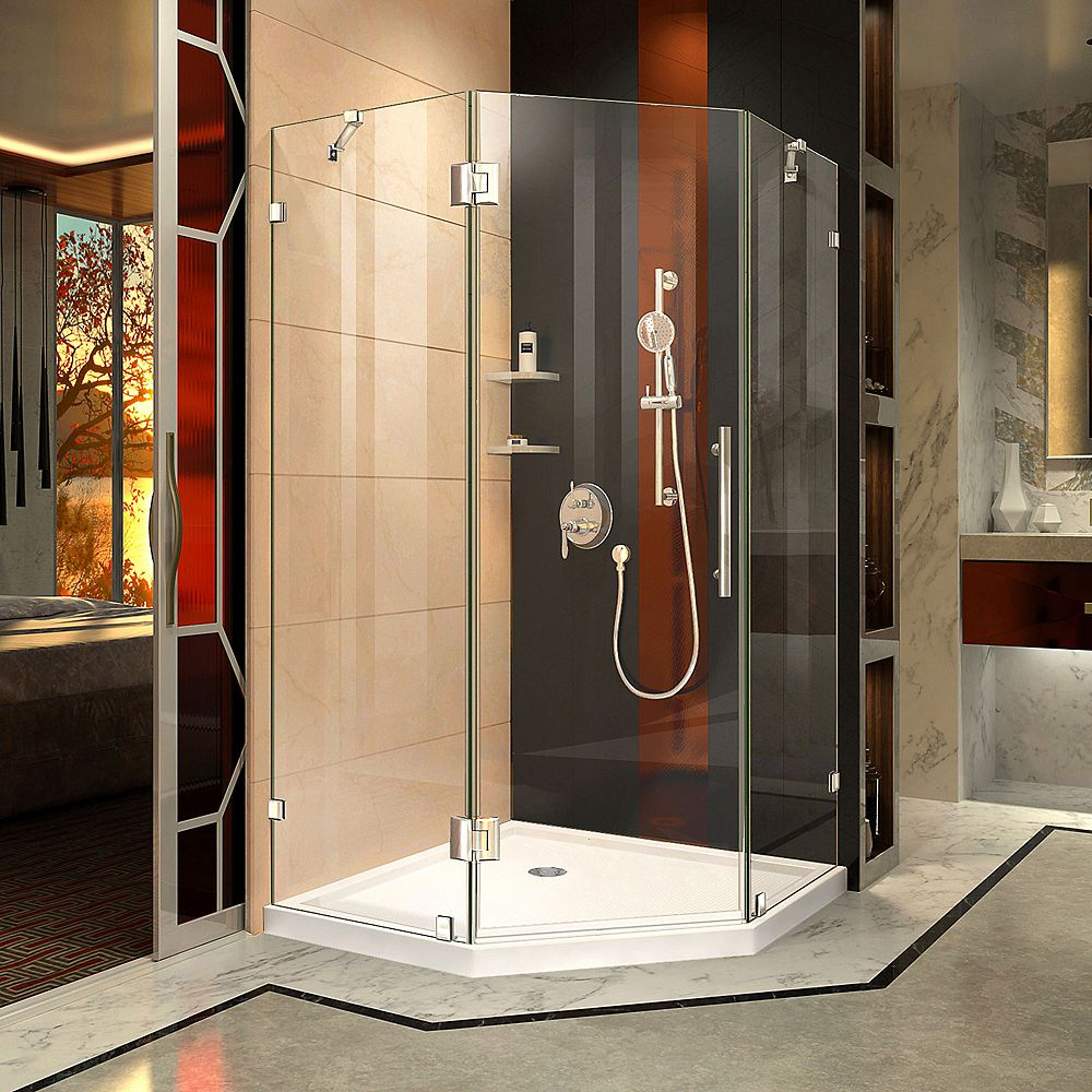 DreamLine Prism Lux 42 inch D x 42 inch W Shower Enclosure in Chrome with Corner Drain White Base Kit