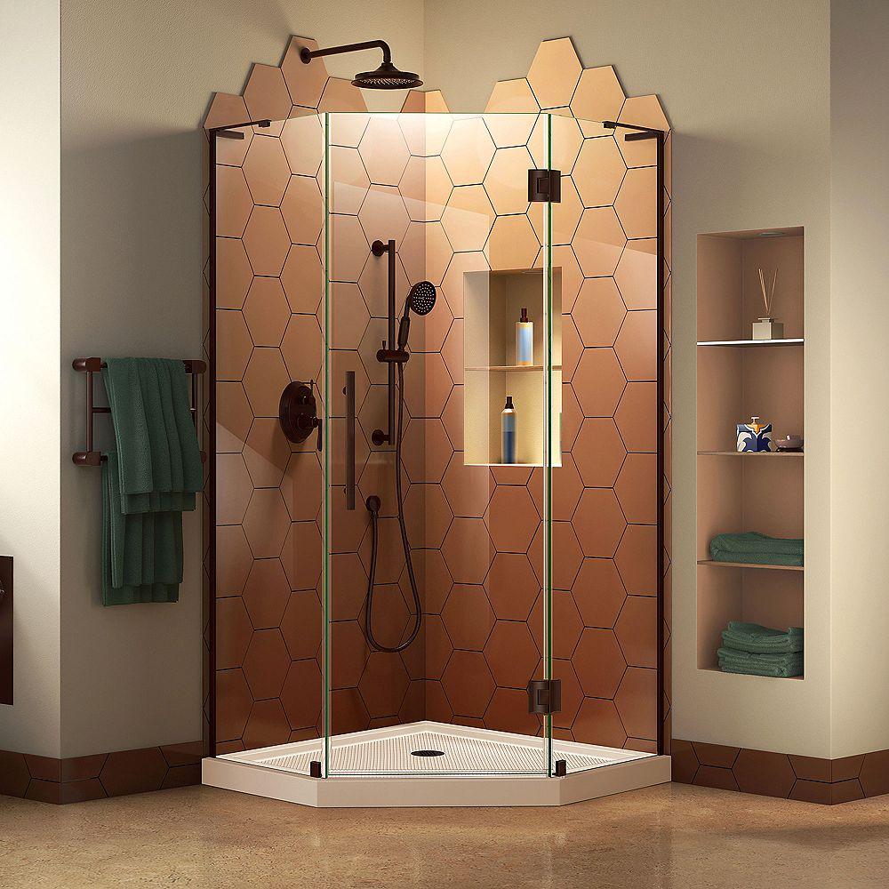 DreamLine Unidoor-X 81.28 cm. W x 182.88 cm. H Sans Cadre Articulé Porte de Douche en Bronze huilé
