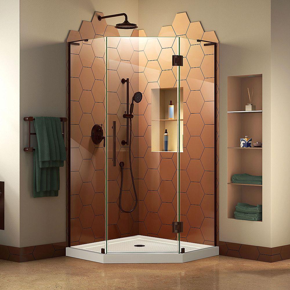 DreamLine Prism Plus 38 inch D x 38 inch W Shower Enclosure in Oil Rubbed Bronze with Corner Drain White Base