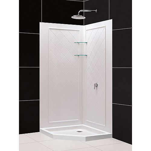 DreamLine 42 inch x 42 inch Neo-Angle Shower Base and QWALL-4 Acrylic Corner Backwall Kit in White