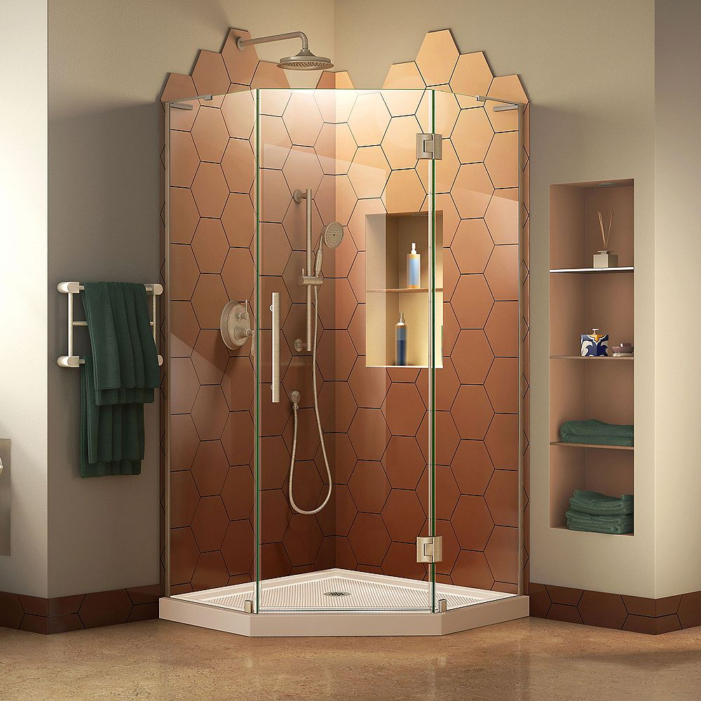DreamLine Prism Plus 40 inch D x 40 inch W Shower Enclosure in Brushed Nickel with Corner Drain Biscuit Base