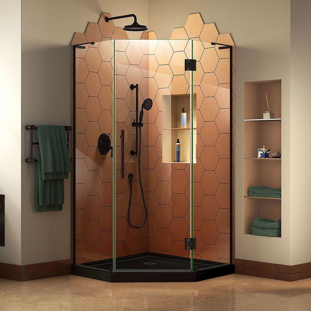 DreamLine Prism Plus 40 inch D x 40 inch W Shower Enclosure in Satin Black with Corner Drain Black Base