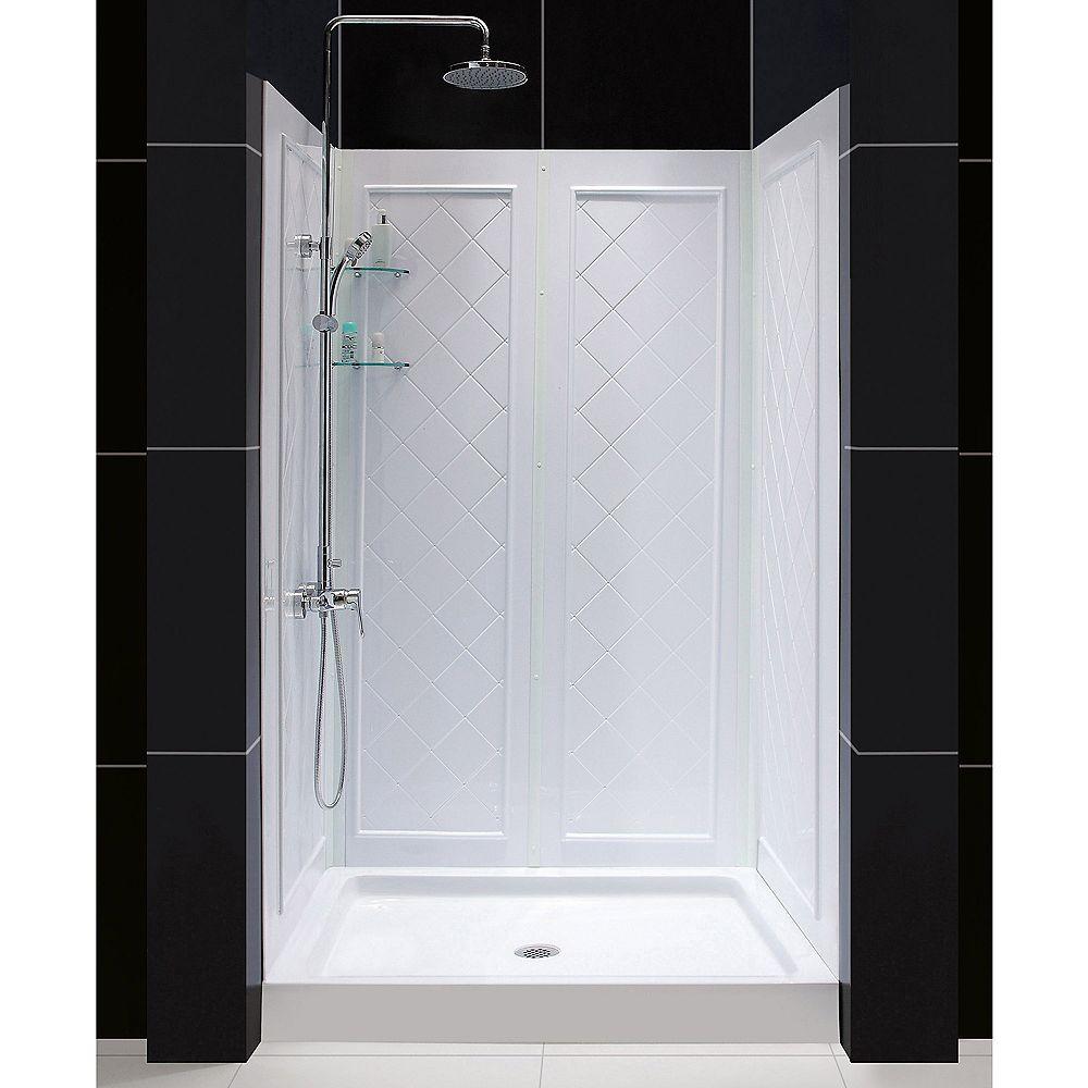 DreamLine 81.28 cm. D x 121.92 cm. W x 194.945 cm. H Base de douche et Kit de Backwall en Blanc
