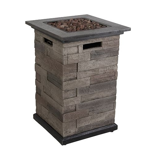 Propane Fire Pit Column with Faux Stone Base