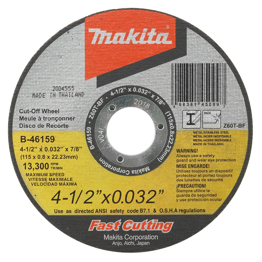 MAKITA 4-1/2 inchX1/32 inchX7/8 inch Ultra-Thin Kerf Cut Off Wheels