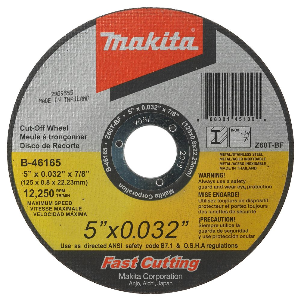 MAKITA 5 inch x 1/32 inch x 7/8 inch Tkcow T1 Z60T-Bf Mtl/Ss 25/Se M=1X