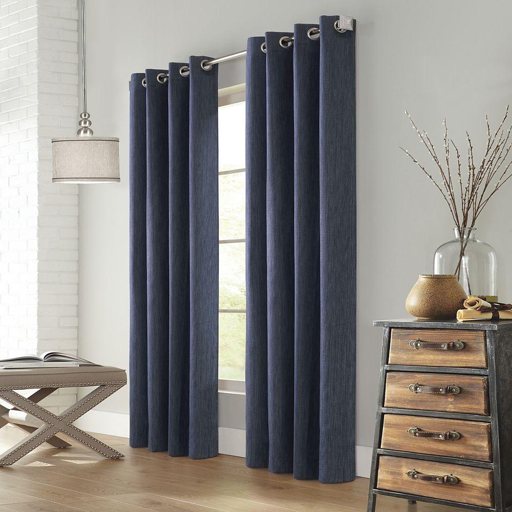 "Home Decorators Collection Sydney Room Darkening Grommet Curtain Panel - 52"" W x 108"" L in Denim"