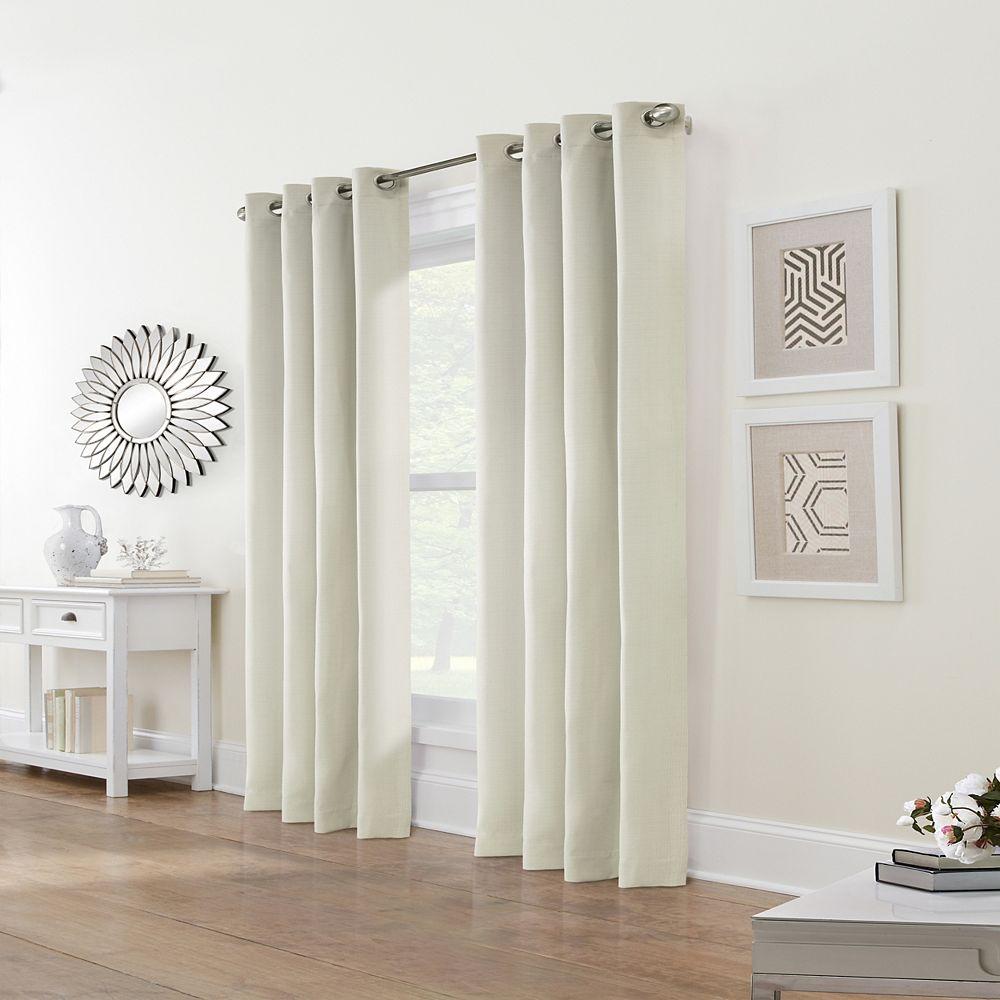 Home Decorators Collection Sydney Rideau à Oeillets Assombrissant 52 pouces largeur X 108 pouces longueur, Blanc