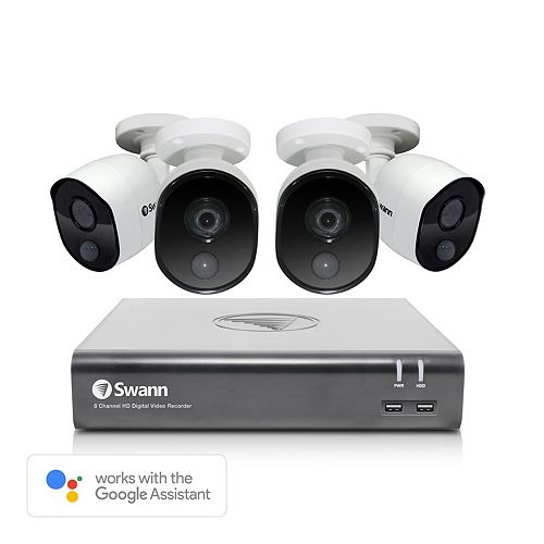 8 Channel 1080p 1TB DVR Security System with 4 Bullet Cameras and Google Assistant