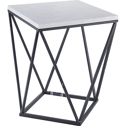Side Table in Black with Faux Marble Top
