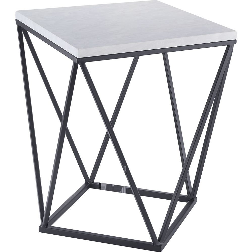 Hampton Bay Side Table in Black with Faux Marble Top