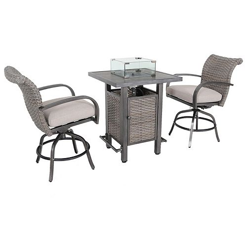 Cane Estates 3-Piece Aluminum Woven Balcony Height Bistro Set with Gas Firepit table