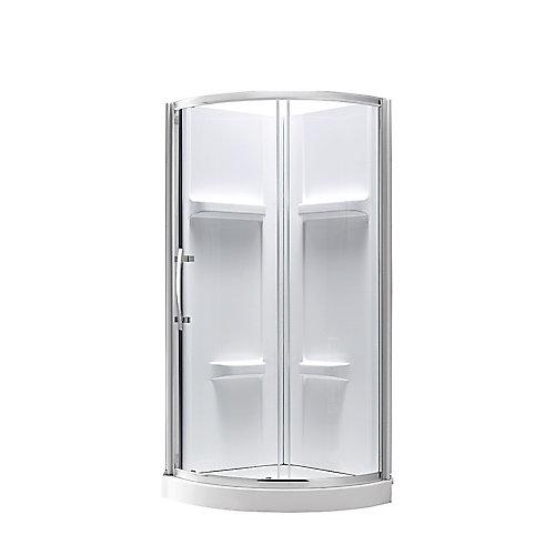 Maia 32-inch x 79.50-inch Corner Drain Corner Shower Kit in Clear and Chrome