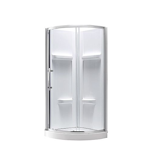 Maia 36-inch x 79.50-inch Corner Drain Corner Shower Kit in Clear and Chrome