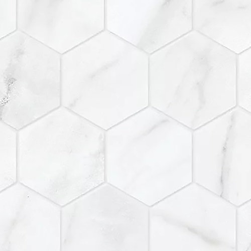 Carreaux de mosaïque, 2 po, porcelaine hexagonale, mate HD, Carrara Nevoso