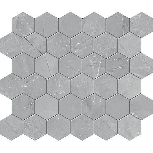 Carreaux de mosaïque, 2 po, porcelaine hexagonale mate HD, gris Pulpis