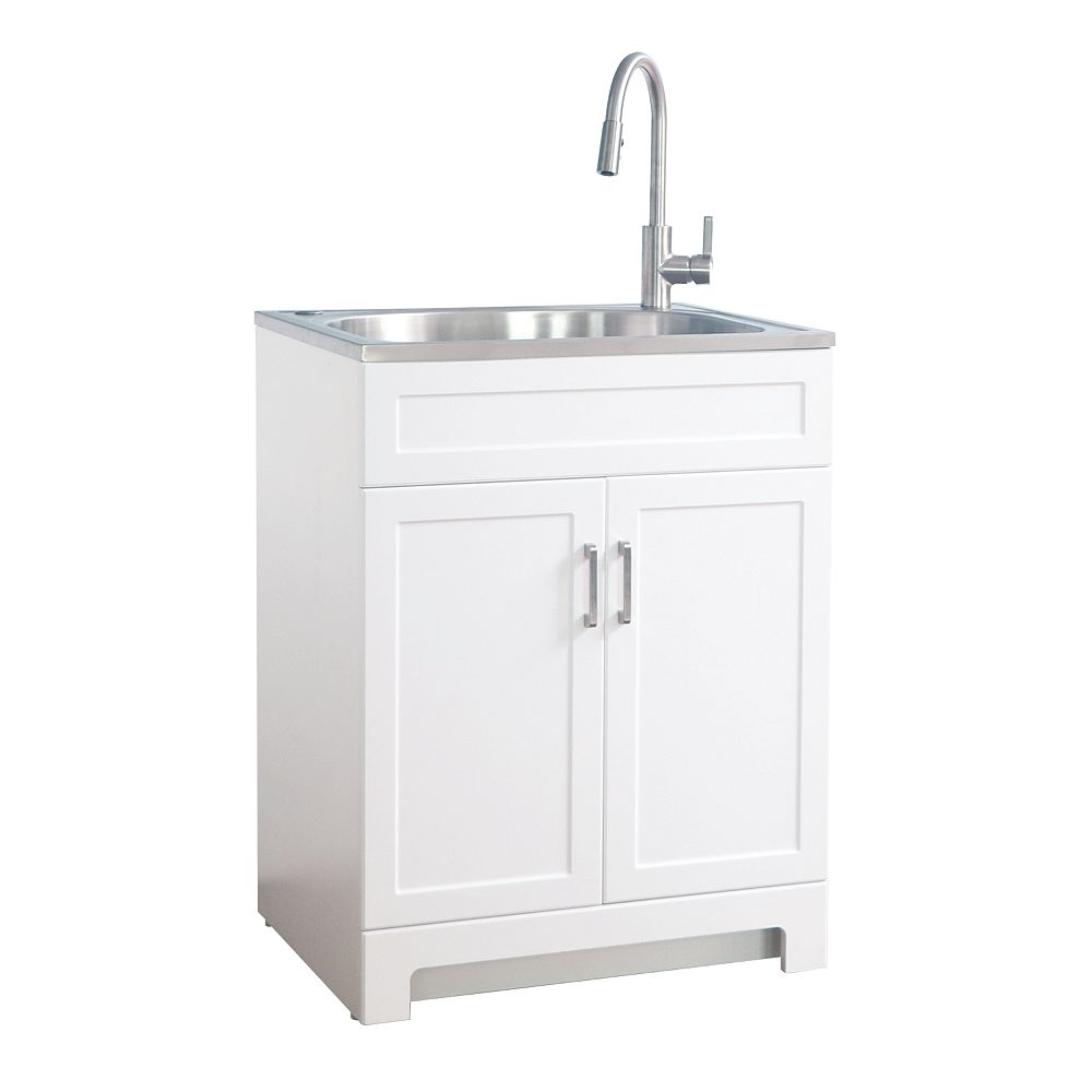 Glacier Bay All in One 25-inch Laundry Cabinet with Stainless Steel Sink 9026-25