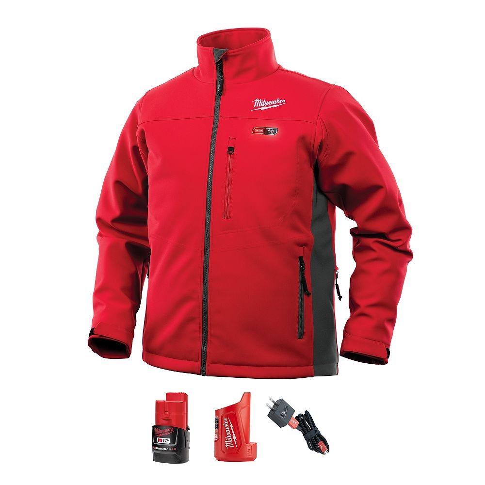 Milwaukee Tool Men's 3X-Large M12 12-Volt Lithium-Ion Cordless Red Heated Jacket Kit w/ 2.0Ah Battery & Charger
