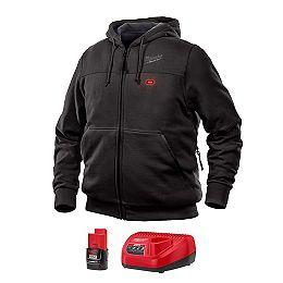 Kit de sweat-shirt à capuche chauffant noir sans fil M12 Lithium-Ion pour homme moyen avec batterie 1,5Ah et chargeur