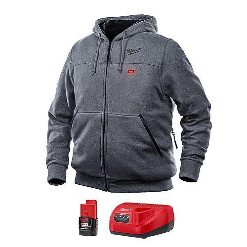 Kit de sweat-shirt à capuche chauffant gris sans fil M12 Lithium-Ion pour homme, grand modèle, avec batterie 1,5Ah et chargeur.