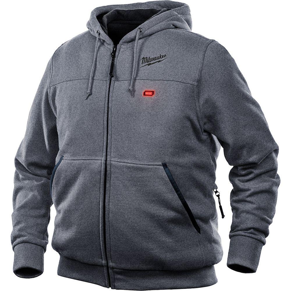 Milwaukee Tool Petit sweat à capuche M12 12V sans fil au lithium-ion gris chauffant pour homme (veste seulement)