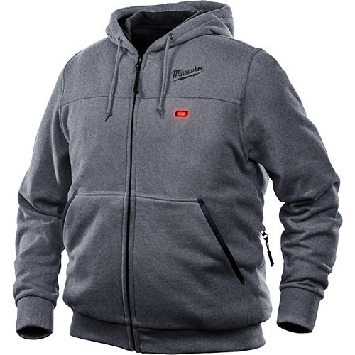 Men's X-Large M12 12-Volt Lithium-Ion Cordless Gray Heated Hoodie Kit w/ 1.5Ah Battery & Charger