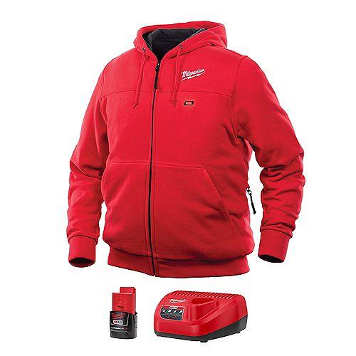 Kit de sweat-shirt à capuche chauffant sans fil rouge M12 Lithium-Ion pour homme, grand modèle, avec batterie 1,5 Ah et chargeur.