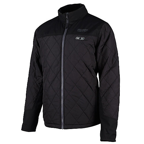 Men's Medium M12 12V Lithium-Ion Cordless AXIS Black Heated Quilted Jacket (Jacket Only)