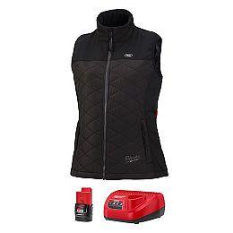 Kit de gilet matelassé chauffant M12 12-Volt Axis Black pour femme X-Large avec (1) batterie de 1,5 Ah et chargeur