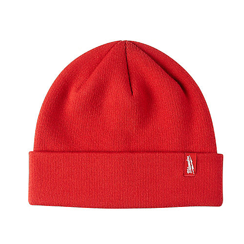Bonnet en tricot doublé de laine polaire rouge pour homme