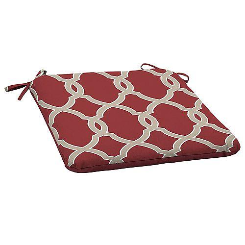 Jeanette Fade-Resistant Outdoor Seat Cushion in Geometric Trellis Pattern