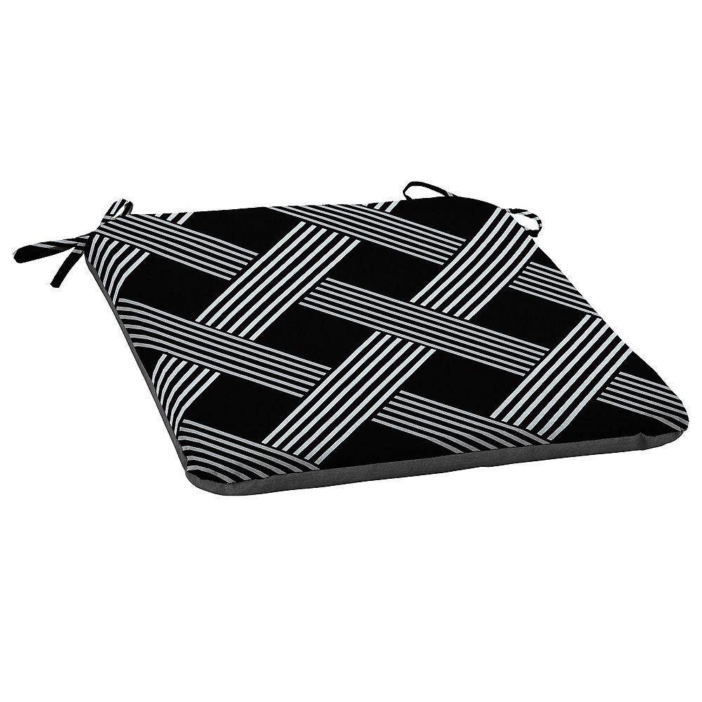 Hampton Bay Fade-Resistant Outdoor Seat Cushion in Black Lattice Pattern