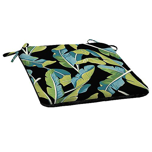 Welted-Back Fade-Resistant Outdoor Seat Cushion in Banana Leaf Tropical Pattern
